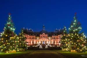 vignette france chateau de vaux le vicomte Vue de nuit avec sapins de Noel
